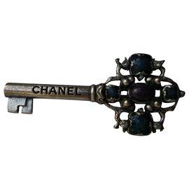 Chanel-CHANEL Paris Cosmopolitan Crafts Key Brooch-Blue