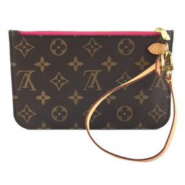 Louis Vuitton-Louis Vuitton Neverfull Pochette For PM Monogram Canvas-Brown