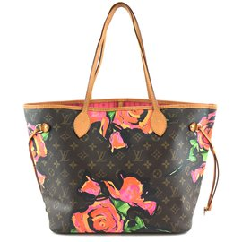 Louis Vuitton-Toile Monogram Louis Vuitton Neverfull MM Rose-Multicolore