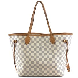 Louis Vuitton-Toile Louis Vuitton Neverfull Mm Damier Azur-Blanc