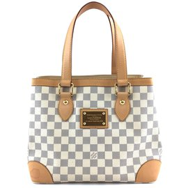 Louis Vuitton-Toile Louis Vuitton Hampstead PM Damier Azur-Blanc