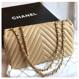 Chanel-Classic Flap Bag  with box , dustbag limited chevron-Beige