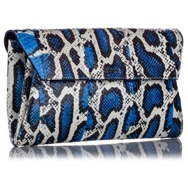 Alexander Mcqueen-Alexander McQueen Blue Python Clutch Bag-Blue,Multiple colors