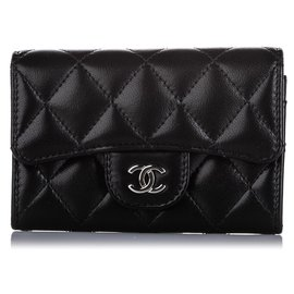 Chanel-Chanel Black CC Timeless Lambskin Leather Small Wallet-Black