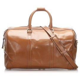 Gucci-Sac de voyage en cuir marron Gucci-Marron