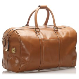 Gucci-Gucci Brown Leather Travel Bag-Brown