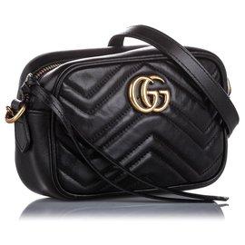 Gucci-Gucci Black Mini GG Marmont Leather Crossbody Bag-Black