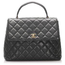 Chanel-Chanel Black Kelly Caviar Leather Handbag-Black