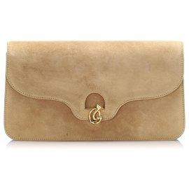 Gucci-Gucci Brown Suede Leather Clutch Bag-Brown,Beige