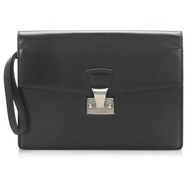Cartier-Cartier Black Leather Clutch Bag-Black
