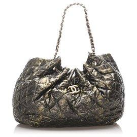Chanel-Chanel Black XL Cabas Spirit Nylon Tote Bag-Black,Golden