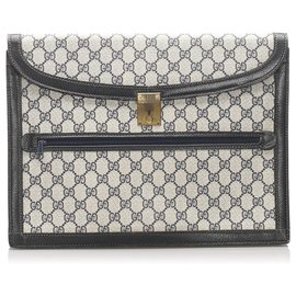 Gucci-Gucci Gray GG Supreme Clutch Bag-Blue,Other,Grey,Dark blue