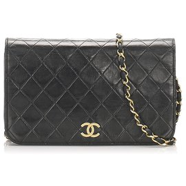 Chanel-Sac à rabat en cuir d'agneau noir classique CC Chanel-Noir