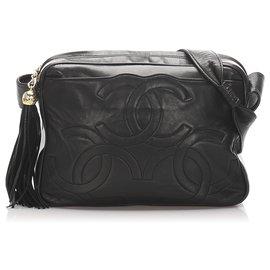 Chanel-Chanel Black Triple Coco Lambskin Leather Crossbody Bag-Black