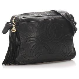 Chanel-Sac bandoulière en cuir d'agneau noir Triple Coco Chanel-Noir