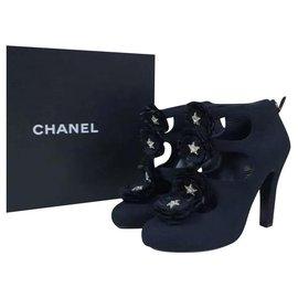 Chanel-Chanel 15A Black Fabric Camellia Stars CC Logo Booties Sz. 38,5-Black