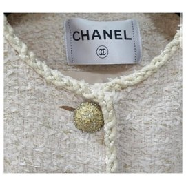 Chanel-CHANEL Ecru Tweed  Versailles Blazer Jacket Sz.36-Multiple colors