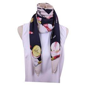 Karl Lagerfeld-Echarpes-Multicolore,Blanc cassé