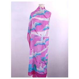 """Hermès-paréo """" envol de cigognes""""-Rose,Blanc,Bleu"""