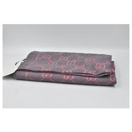 Gucci-Écharpe Gucci rose-gris 100% Motifs monogrammes en soie-Rose,Gris anthracite