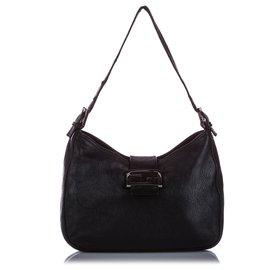 Fendi-Fendi Black Mamma Forever Leather Shoulder Bag-Black
