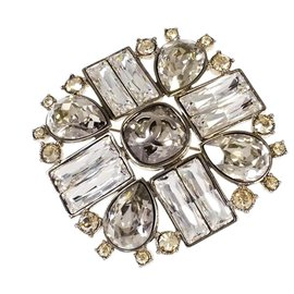 Chanel-Chanel Silver Square Brooch-Silvery