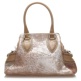 Fendi-Fendi Brown Etniko Leather Handbag-Brown,Light brown