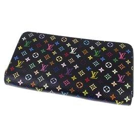 Louis Vuitton-Louis Vuitton Black Monogram Multicolore Zippy Long Wallet-Black,Multiple colors