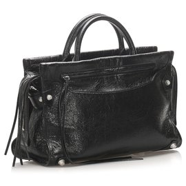 Balenciaga-Balenciaga Black Mute City Giant Leather Satchel-Black