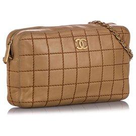 Chanel-Chanel Brown Wild Stitch Chain Lambskin Leather Shoulder Bag-Brown,Light brown