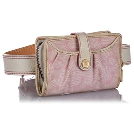 Céline-Celine Pink C Macadam Canvas Belt Bag-Pink