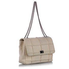 Chanel-Chanel Brown Choco Bar Patchwork Reissue Wool Single Flap Bag-Brown,Beige