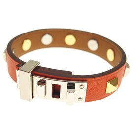 Hermès-Bracelet Hermes Orange Mini Dog Square Crew-Doré,Orange
