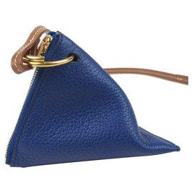 Céline-Charm en cuir zippé bleu Céline-Marron,Bleu