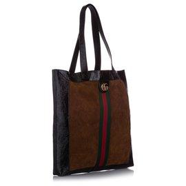 Gucci-Grand sac cabas en daim Ophidia marron Gucci-Marron,Multicolore