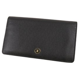 Chanel-Portefeuille long en cuir CC noir Chanel-Noir