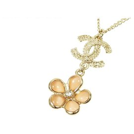 Chanel-Chanel Gold CC Flower Necklace-Pink,Golden,Other