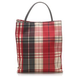 Burberry-Burberry Red Plaid Canvas Tote Bag-Red,Multiple colors