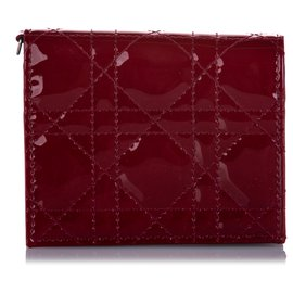 Dior-Dior Red Cannage Patent Leather Wallet-Red