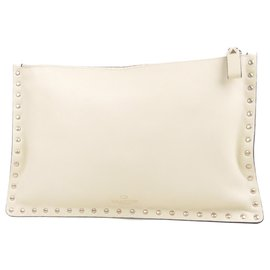 Valentino-Valentino White Rockstud Clutch Bag-White,Cream