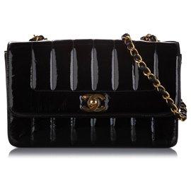 Chanel-Sac à rabat en cuir verni noir Small Mademoiselle Ligne Chanel-Noir