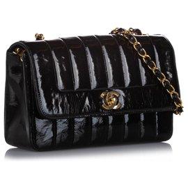 Chanel-Chanel Black Small Mademoiselle Ligne Patent Leather Flap Bag-Black
