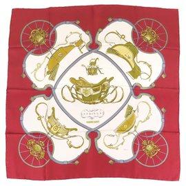 Hermès-Écharpe en soie Hermes Red Springs-Rouge,Multicolore
