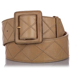 Chanel-Chanel Brown Quilted Lambskin Leather Belt-Brown,Beige