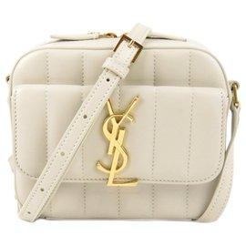 Yves Saint Laurent-YSL White Toy Vicky Camera Bag-White,Cream