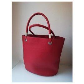 Lancel-Handbags-Silvery,Red