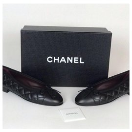 Chanel-CHANEL BALLERINES BALLERINE BALLET FLATS QUILTED WITH BOX-Black