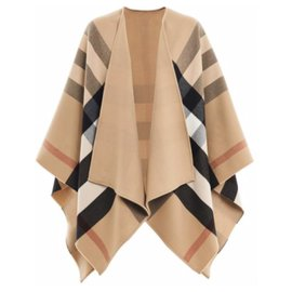 Burberry-NEW REVERSIBLE BEIGE BURBERRY CAAPE PONCHO-Beige