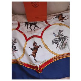 Hermès-Rare Hermès silk scarf with the theme of the French Riding School-Multiple colors
