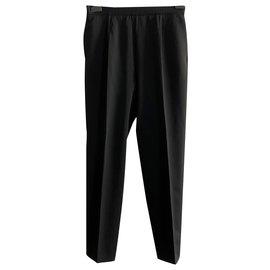 Yves Saint Laurent-Pantalon vintage en laine noire YSL Rive Gauche-Noir